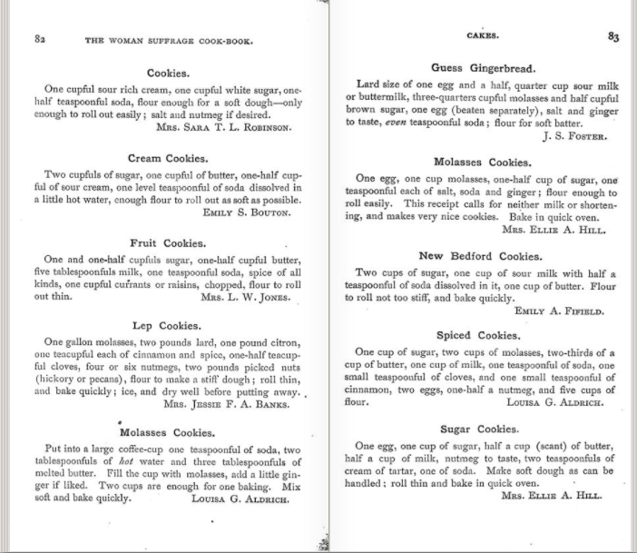 page of suffragist cookbook suffrage movement food