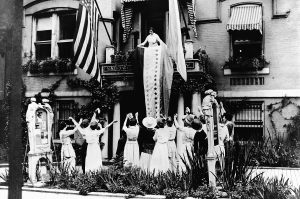 Alice Paul and other women celebrating the 19th Amendment in 1920.