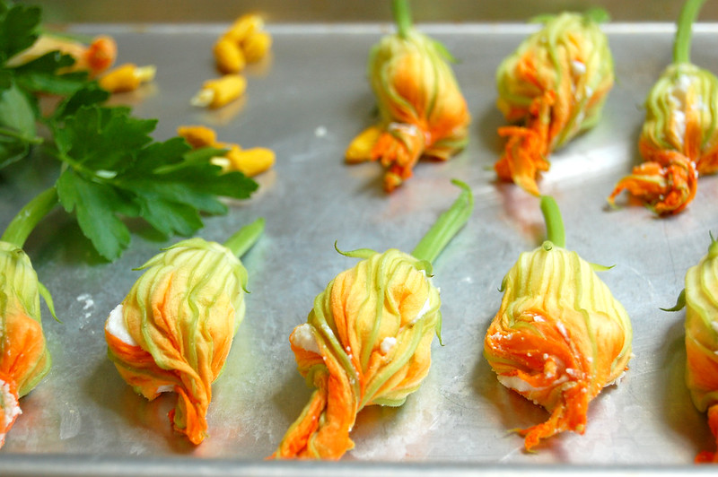 sheet pan of stuffed squash blossoms