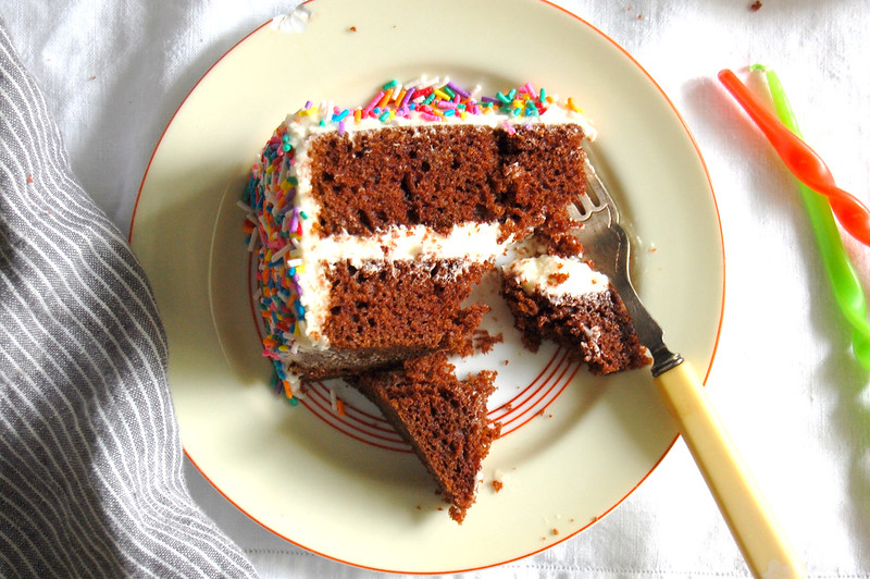 no dye velvet layer cake without food coloring slices on plates with sprinkles birthday party spread