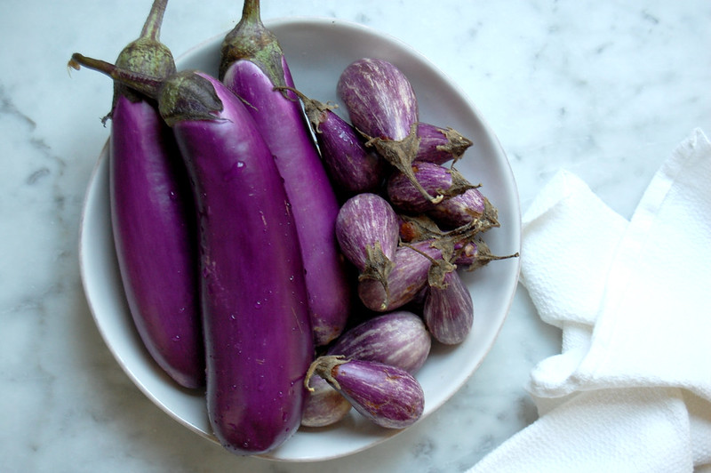 bowl of eggplant on marble