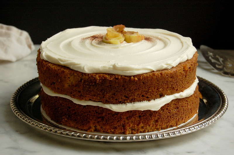 rye apple cake spice cake with buttercream and apple decoration