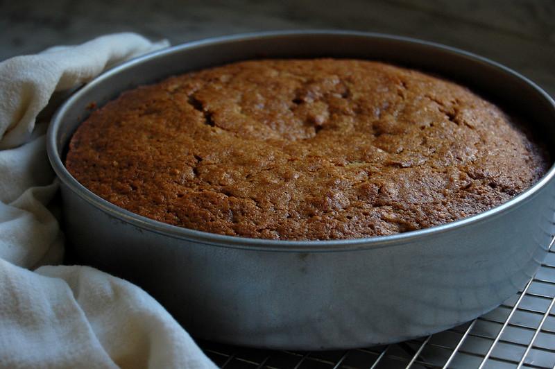 baked apple rye cake layer in cake pan