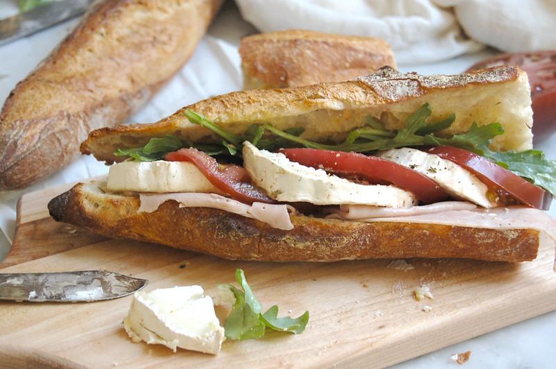 goat cheese tomato baguette sandwich