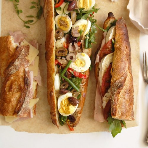3 Classic French Baguette Sandwiches Unpeeled