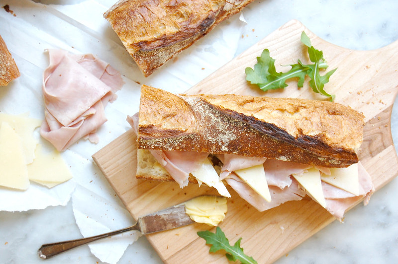 jambon beurre french baguette sandwich on wooden board