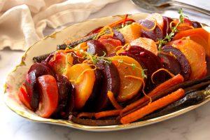 roasted beet salad with citrus vinaigrette on serving platter