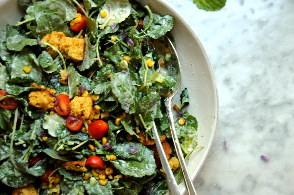 Baby Kale and Corn Salad with Buttermilk Herb Dressing