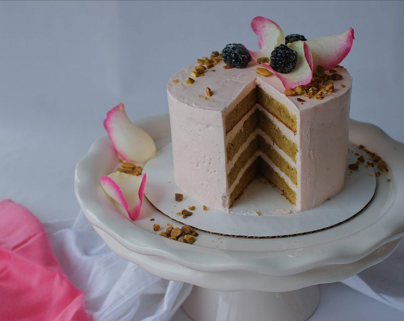 pistachio rose cake from monica oconnell