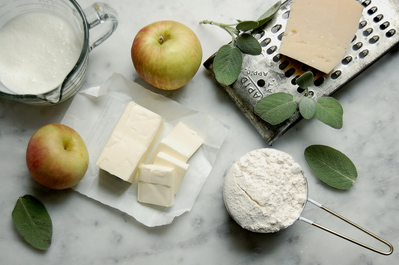 ingredients apple sage gruyere cheese for scones