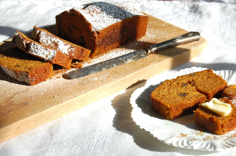 The Best sliced pumpkin bread on cutting board with knife