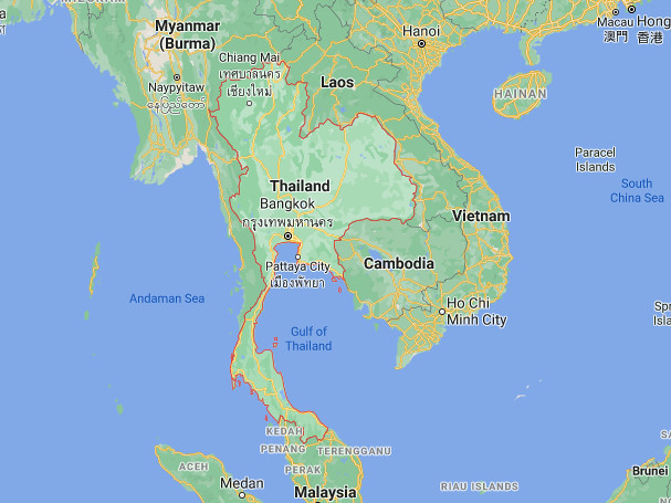map of Thailand for chicken kra pao recipe