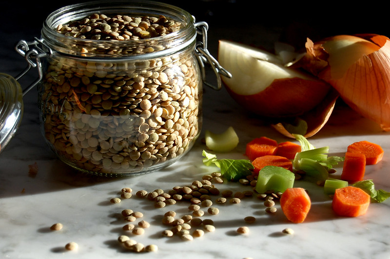 soup ingredients: french lentils, carrots, celery, onion