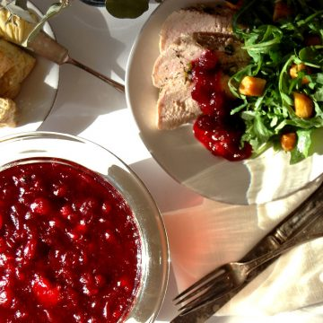 plate of cranberry sauce with roast turkey and salad