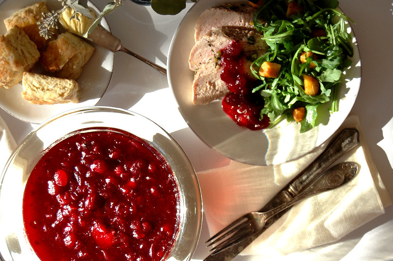plate of cranberry sauce with roast turkey and salad conversation thankfulness thanksgiving dish