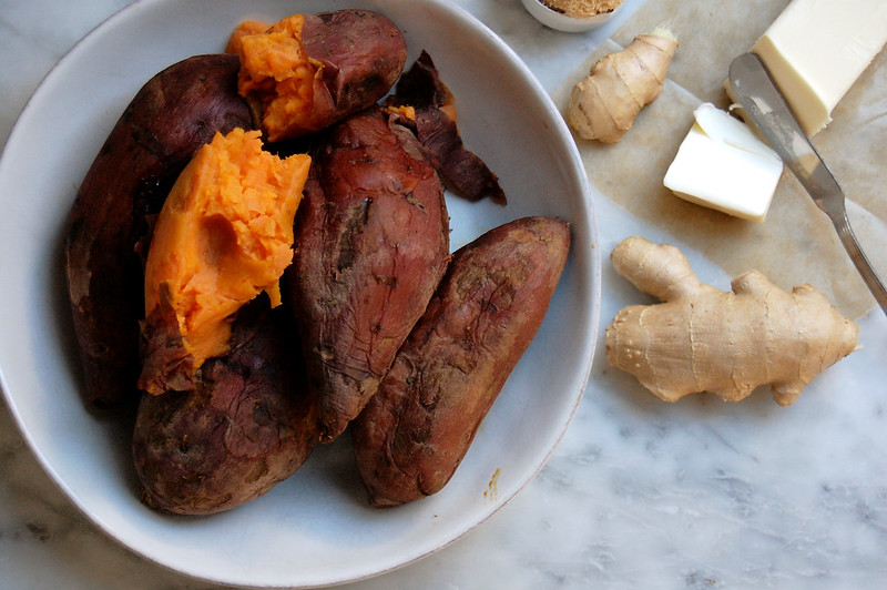 ingredients for candied sweet potatoes recipe with ginger and butter