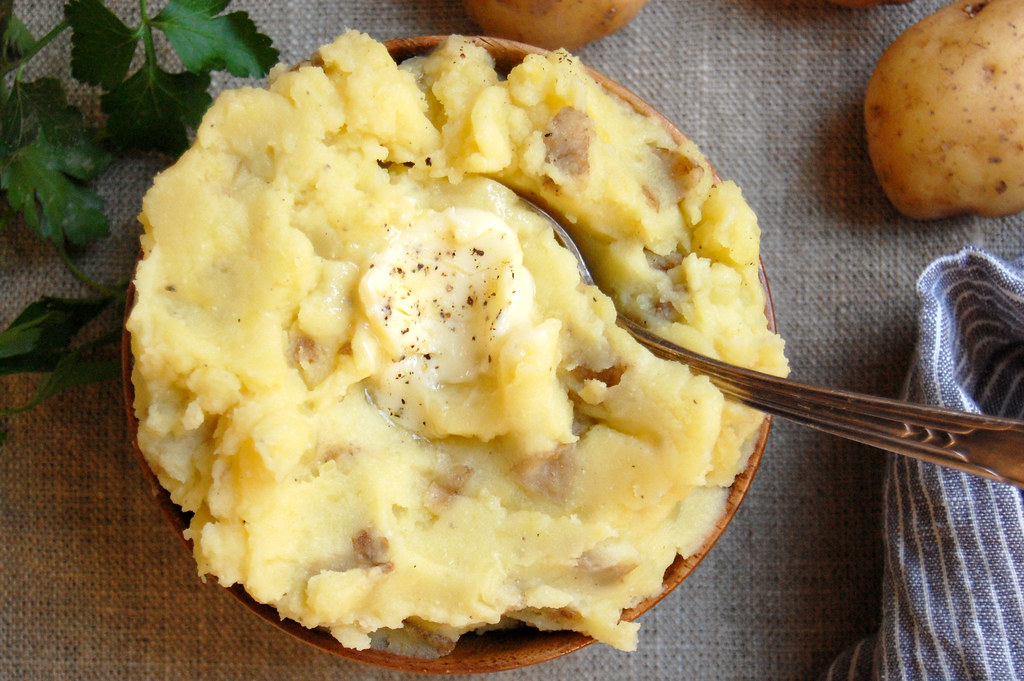 Mashed Potatoes Steeped With Garlic, Onion and Herbs