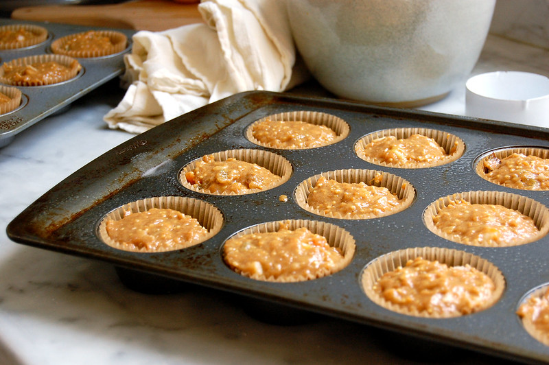 unbaked sweet potato morning glory muffins in muffin tin as thanksgiving leftovers
