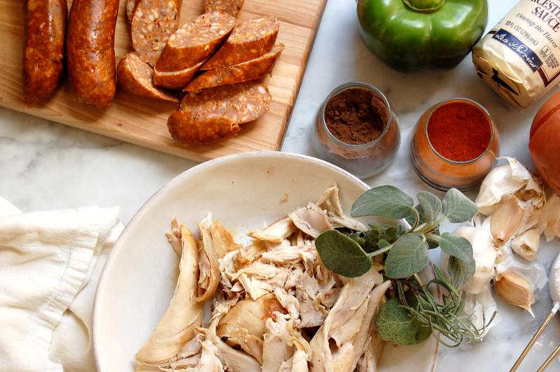 ingredients for turkey gumbo recipe turkey andouille sausage spices green pepper sage