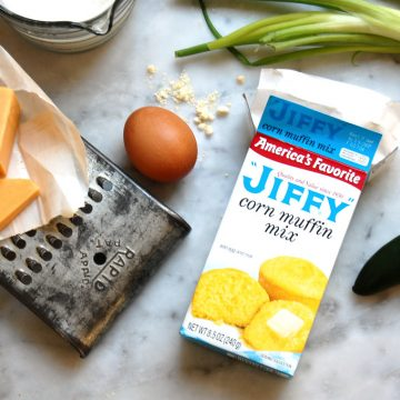 jiffy cornbread box mix hacks with jalepeno egg, buttermilk and cheddar cheese