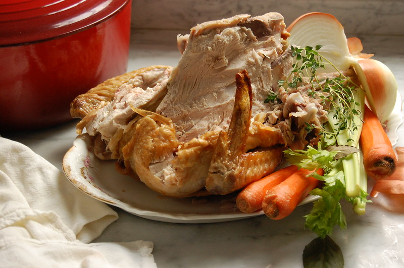 leftover thanksgiving turkey carcass with vegetables for soup