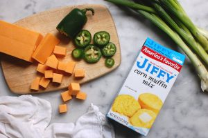 add cheddar scallions and jalapeno to make Jiffy cornbread mix better and spicy