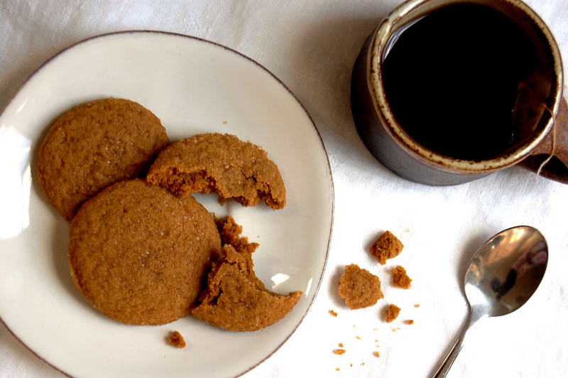 platter of molasses cookies on plate with tea