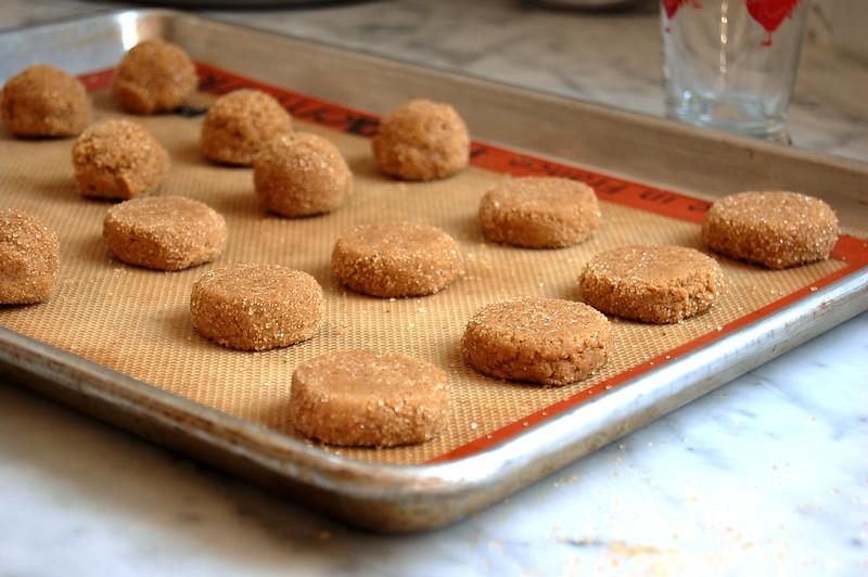 raw cookies on baking sheet before baking