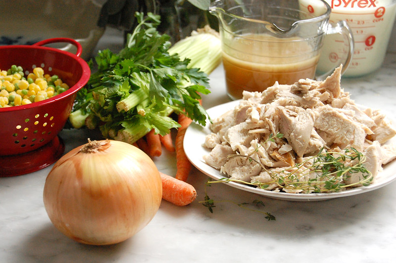 chicken pot pie ingredients chicken vegetables stock herbs