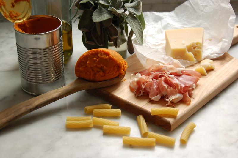 ingredients for creamy pumpkin pasta recipe rigatoni cheese sage prosciutto pumpkin
