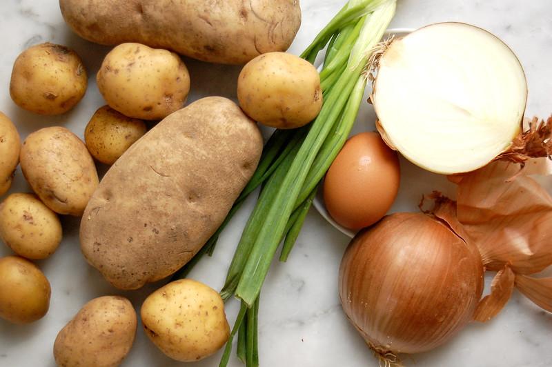 potato latke ingredients onion egg scallion russet potatoes