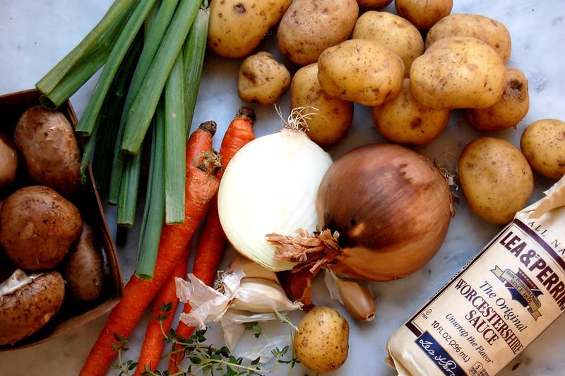 ingredients for shepherd's pie vegetables on marble