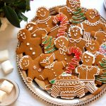 platter of decorated gingerbread cookie people on plate for Christmas cookies