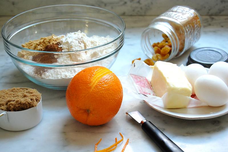 ingredients for spiced gingerbread layer cake orange butter raisins flour sugar