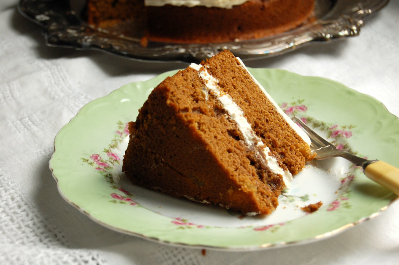 slice of gingerbread cake on pretty plate for dessert