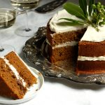 classic gingerbread layer cake recipe on table