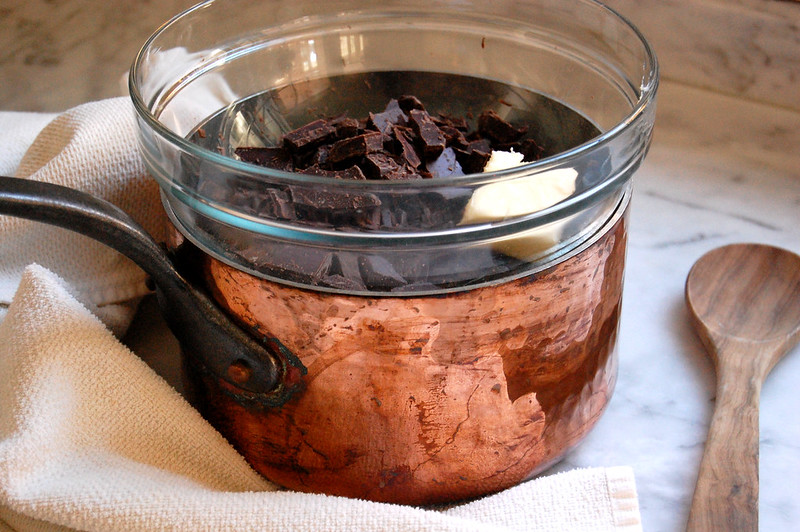 copper pot double boiler with butter and chocolate