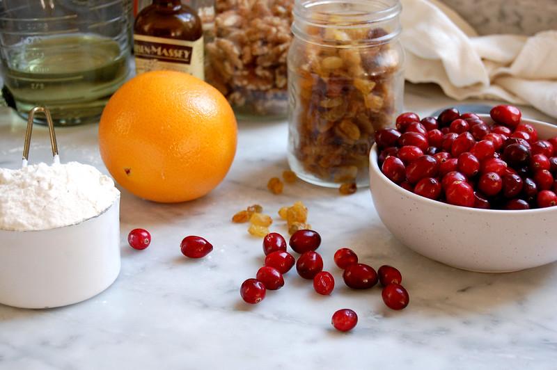 ingredients for cranberry nut orange bread raisins flour vanilla eggs