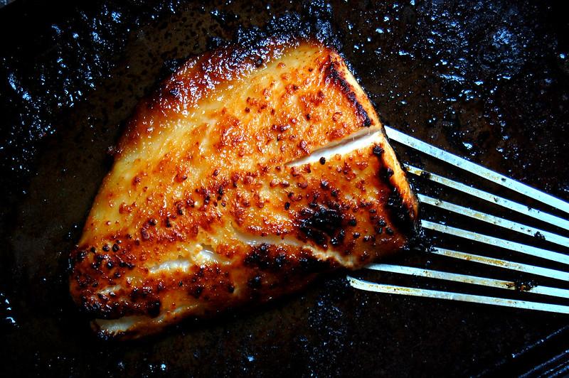 black cod on sheet pan broiled