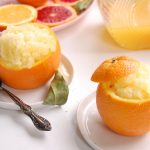 orange granitas in natural orange cups with juice