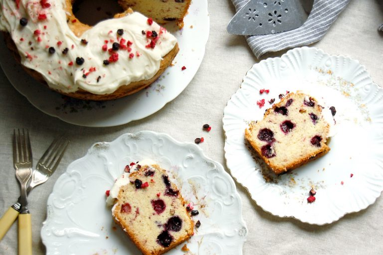 red white blueberry poundcake sliced on plates with fresh berries inauguration day