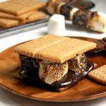 homemade s'more with homemade honey graham crackers and chocolate
