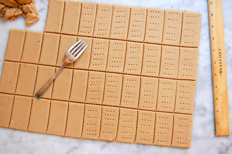 rolled dough cut into crackers and docked with fork