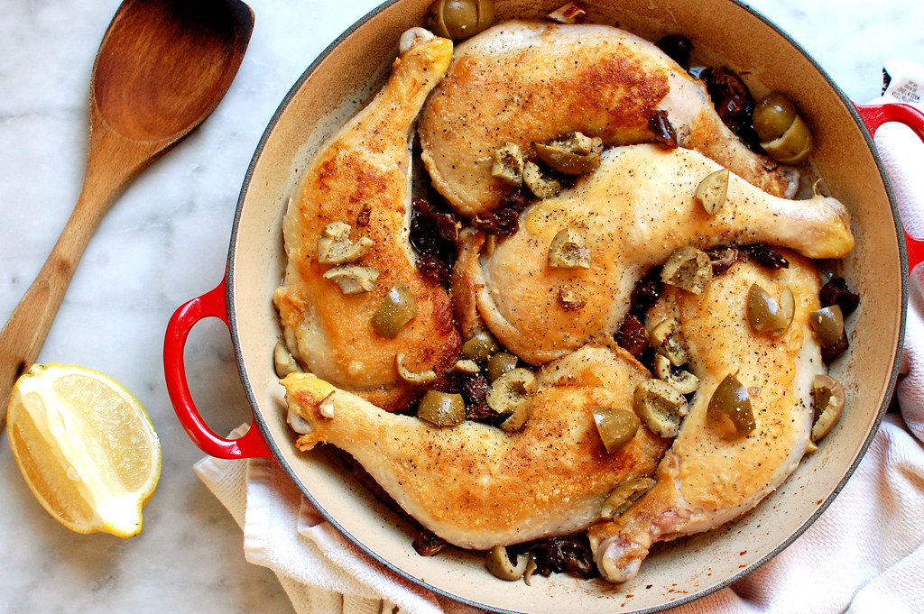 Braised Lemon Chicken With Olives + Dates