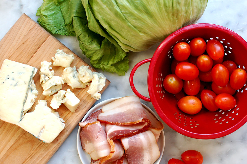 ingredients for salad bacon cheese tomatoes lettuce