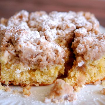 slice of new Jersey crumb cake coffee cake on plate