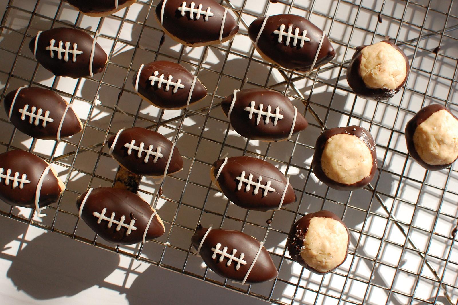 super bowl dessert football buckeyes on cooling rack