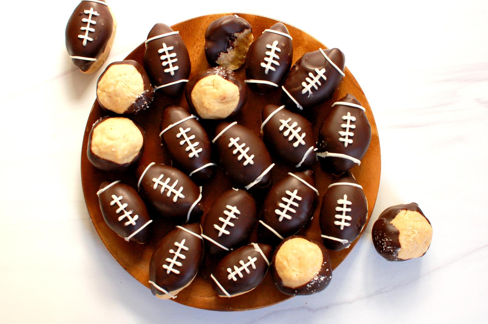 super bowl dessert football buckeyes chocolate peanut butter on plate