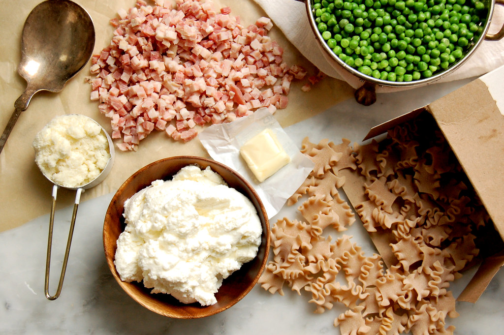 ingredients for Marcella Hazan ritotta peas pasta recipe