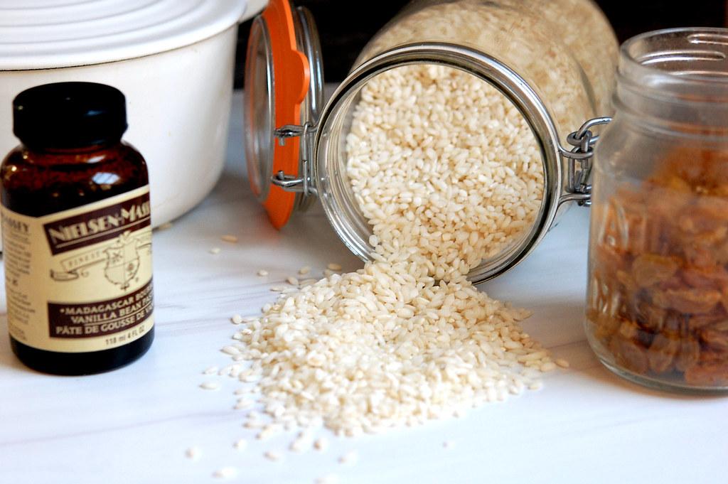ingredients arborio rice vanilla milk